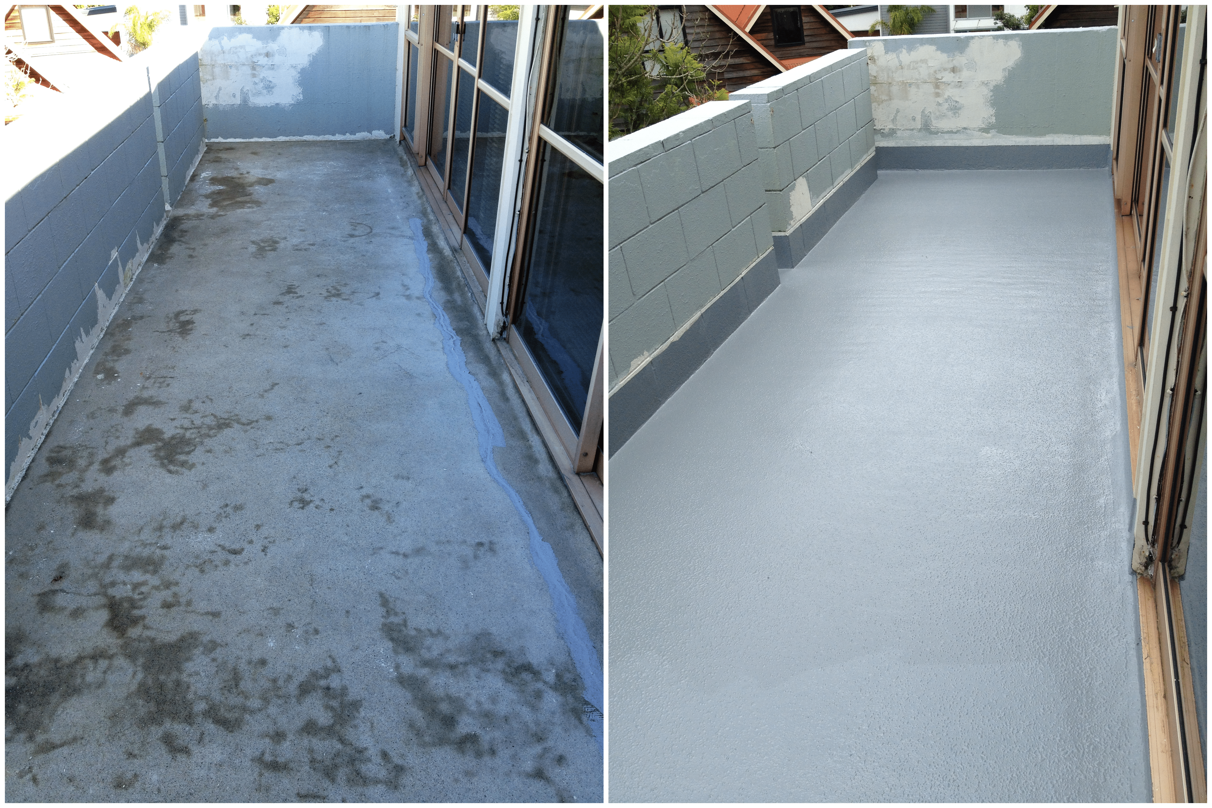Concrete deck waterproofing with Rhino Linings