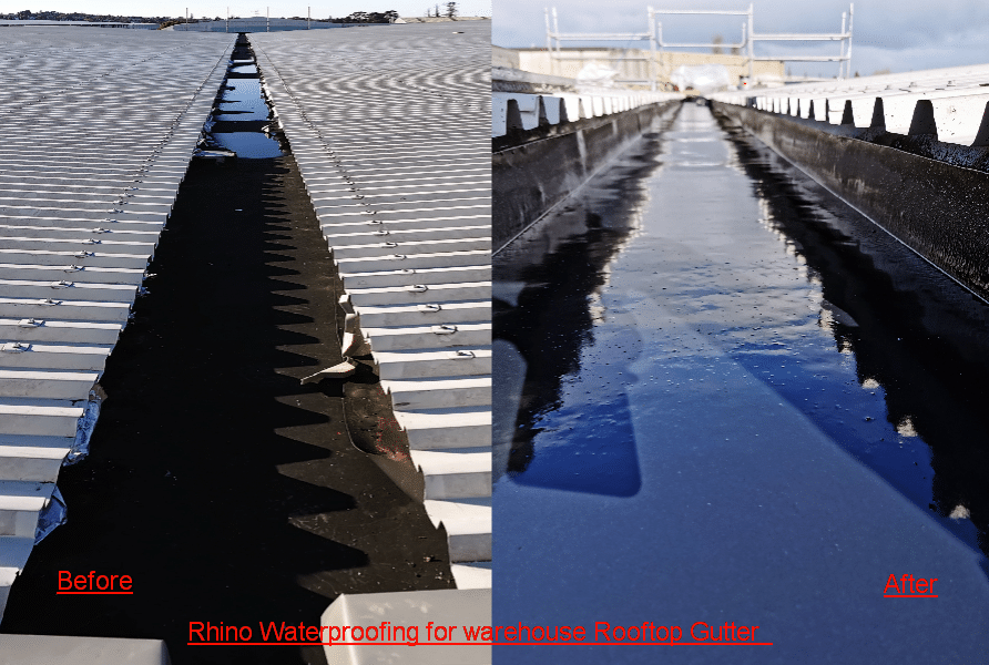 Rhino Waterproofing for warehouse Rooftop Gutter
