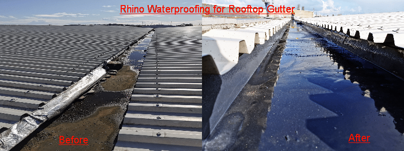 Rhino Waterproofing for Rooftop Gutter